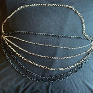 Black and silver chain accent necklace